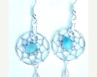 SALE DREAM CATCHER Earrings with Amazonite