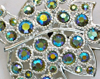 Vintage Blue Brooch AB Rhinestone Pin 60s Costume Jewelry
