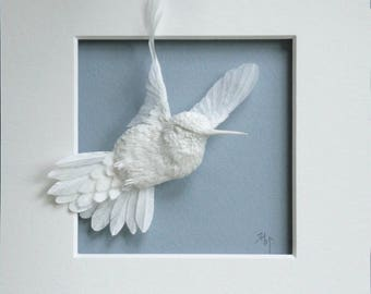 Paper Hummingbird Sculpture Art Journey Ready to Ship