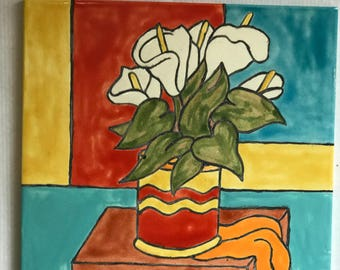 Tile-Stillife with Calla Lillies