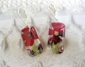 Red Verbena, Pink Veronica & Ferns Pressed Flower Domed Glass Rectangle  Leverback Earrings-Symbolizes Enchantment-Nature's Art