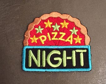 Pizza Night Merit Badge Party Pizza Pie Stars Neon Sign Pizza Sauce Pizza Crust Adult Scout Patch