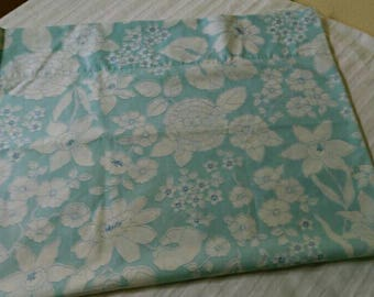 1960s Wamsutta Supercale blue and white floral standard pillowcase