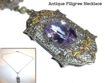 Antique Filigree Necklace Gold Accents, Seed Pearls, Purple Stones. Circa 1910. Beautiful Bridal Jewelry Something Old.
