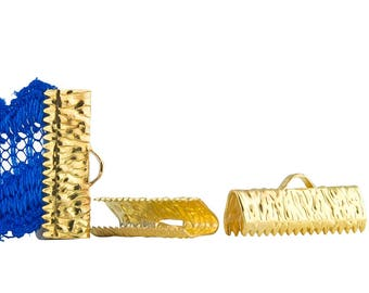 50 pieces - 20mm or 3/4 inch Gold Ribbon Clamps - Artisan Series