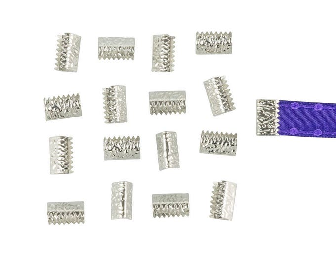 150pcs. 10mm or 3/8 inch Silver No Loop Ribbon Clamp End Crimps - Artisan Series