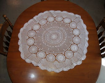 Round Doily, Crochet,  White, Circular Medallions,  Cottage Charm, French Country, Shabby Cottage