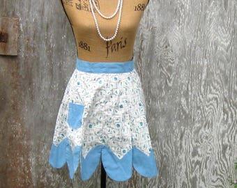 Rose Buds Apron, Vintage Apron, Half Apron, Blue Roses, Petal Hem, Handmade, One Pocket by NormasTreasures on etsy