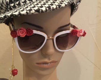 White Sunglasses with Charms , French themed Charmed Sunglasses , Rose Sunglasses