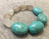 Turquoise and Rock Crystal Bracelet, Turquoise Bracelet, Earthy Bracelet, Womens Jewelry, Stretchy Bracelet, Turquoise Jewelry, Bracelets