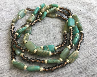 African Opal Necklace, Long Beaded Necklace, Bohemian Jewelry, Boho Necklace, Womens Jewelry, Gifts for Her, Unique Jewelry