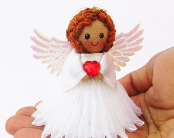 Charming Tiny Guardian Angel Doll Holding A Heart   Handmade Decoration   Miniature  Christmas Tree Ornament