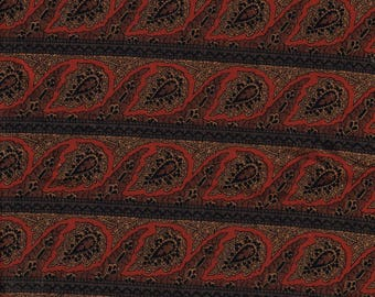 Silky Striped Paisley Fabric 64 inches wide 1.7 yards long Red Brown Black Synthetic Fabric for Summer Skirts Nice Sheen