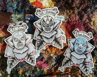 Stickers - luchadores - lucha libre - el santo - blue demon - mil mascaras - flash art - pack of 3 stickers - dia de los muertos