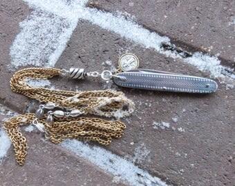 Art Deco Folding Knife Necklace, Vintage Chain, Vintage St. Benedict Medal
