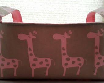 Long Diaper Caddy Fabric Organizer Basket Container Maple Pink Giraffes Bin Storage