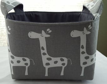 Fabric Organizer Basket Storage Bin Container - Gray and White Giraffes - Choose your Lining Color