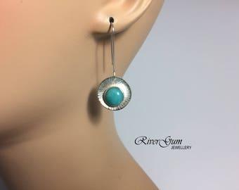 Amazonite Disc Earrings, Silver Disc Earrings, Long Sterling Silver Earrings, Aqua Gemstone Earrings, Handmade by RiverGum Jewellery