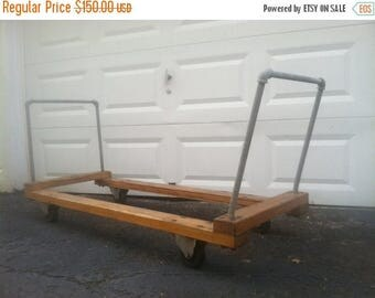 Memorial Day Sale. Industrial Chic.  Large Wooden and Metal Cart.