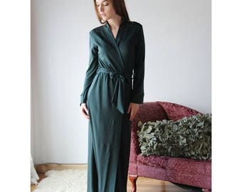 long wool robe in double knit fine stretch jersey - HEARTH - made to order