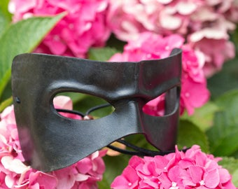 Frowning Black Leather Masquerade Mask