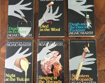 Vintage Ngiao Marsh Paperback Mystery Lot of 6, 1930s books, vintage mysteries, book decor, collectible paperbacks, book covers
