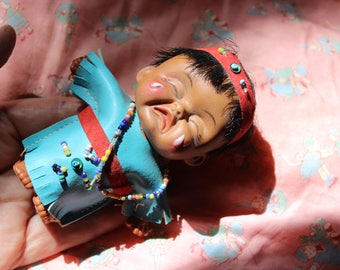 Crying Indian Doll Plastic Souvenir Native American VINTAGE by Plantdreaming