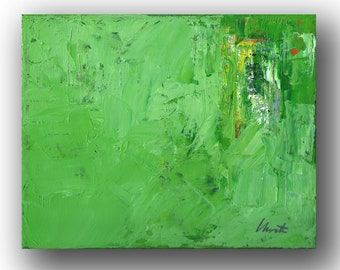 """Abstract Painting. """"Green White Yellow"""""""