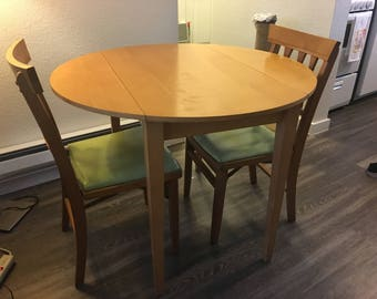 Vintage Dining Set: Drop Leaf Table and 2 Chairs