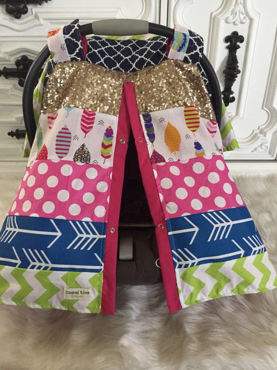 CAR SEAT COVER , custom patchwork , gold sparkle , gold car seat canopy  , custom design you pick fabrics