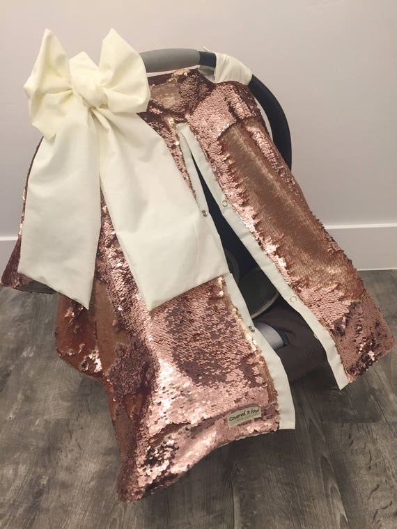 Rose Gold Carseat Cover , flip up sequins change to Gold , Cream Accents , OOAK , RTS Elegant , baby shower