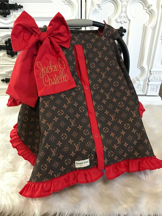 car seat canopy , LV car seat cover , comes with BOW and Ruffle