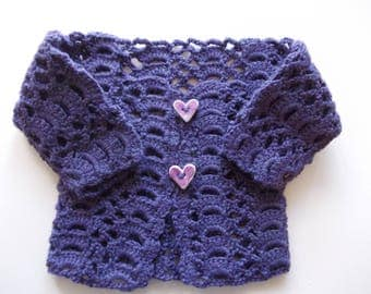 PERFORATED PURPLE SWEATER WITH BUTTONS IN THE HEART