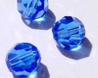 Swarovski elements crystal beads  Round 5000 Crystal Beads SAPPHIRE -- Available 4mm, 6mm and 8mm