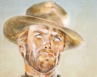 CLINT EASTWOOD, Art Print from Original Watercolor Painting, The Good The Bad and the Ugly, Custom watercolor portrait