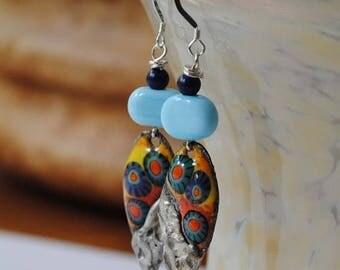 SALE Colorful Teardrop Earrings, Artisan Enamel Earrings, Long Earrings, Lampwork Bead Earrings, Soldered Metal Earrings, Butterfly Earrings
