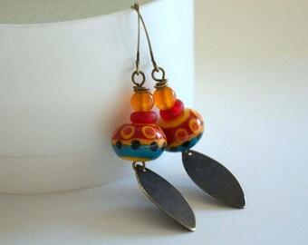 SALE Southwest Earrings, Lampwork Earrings, Colorful Earrings, Boho Chic earrings, Long Earrings, Glass Bead Earrings