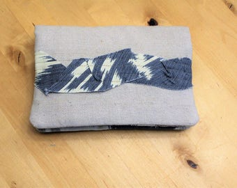 Mini Clutch, Foldover Wallet, Double Zipper and Hand Strap, Natural Blue