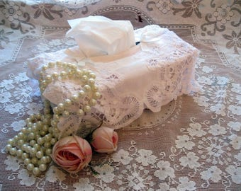 Battenburg Lace Tissue Box Cover, Kleenex Box Lace Cover, Lace Tissue Box Cover, French Country, Shabby Chic, by mailordervintage on ets