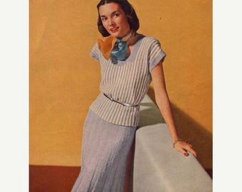 End of May Sale Vintage Knitting Patterns Sweater Skirt 1940s PDF