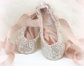 Silver and Blush Pink Bridal Ballet Shoes Sequin Ballet Slippers with Ankle Ties