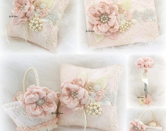 Wedding Ring Pillow,Guest Book,Flower Girl Basket,Blush,Rose,Lace Pillow,Christening,Signature Book,Elegant,Pen,Wedding Set,Vintage Style