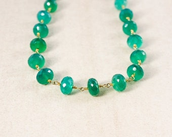ON SALE Green Onyx Beaded Necklace – Choose Your Length