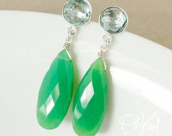 Aqua Quartz & Green Chrysoprase Teardrop Earrings - Bright Green Chrysoprase Earrings