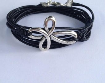 50% OFF SALE Leather Pewter Cross Wrap Bracelet