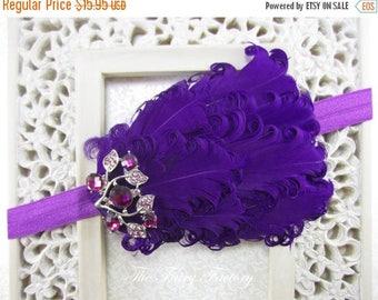Purple Feather Headband, Eggplant Feathers w/ Crystal Accent Purple Headband or Hair Clip, Baby Toddler Child Girls Headband Adult