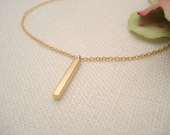 Tiny 3D Vertical Bar with Gold filled or sterling silver chain Necklace...Simple everyday, layering, Delicate minimalist, bridesmaid gift