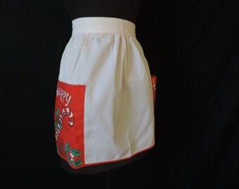 vintage Christmas apron 50s festive candy cane Happy Holiday hostess skirt saver