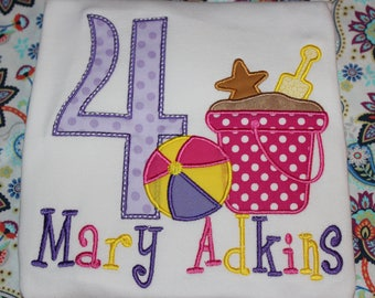 Beach themed 4th birthday shirt - baby bodysuit, tshirt, or dress- you pick colors- any number you choose