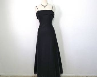 Black Dress Silver Metallic Spaghetti Strap 80s Maxi Night Way Cocktail Formal Evening Dress M